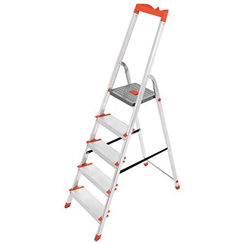 SONGMICS Leiter 5 Stufen, Stehleiter, Trittleiter, 12 cm breite Stufen, Klappleiter, Werkzeugschale, bis 150 kg belastbar GLT005WT01