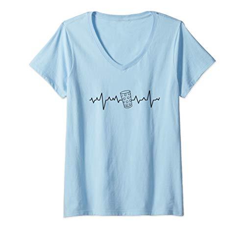 Damen Pfälzer Dubbeglas - Lustiges Pälzer Wein Weinfest Geschenk T-Shirt mit V-Ausschnitt