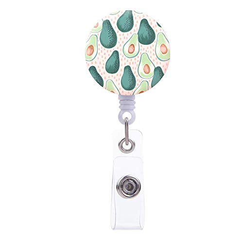 Badge Reel, Green Avocado Pattern Retractable ID Card Badge Holder with Alligator Clip, Name Decorative Badge Reel Clip on Card Holders for Cute Girls,Women, Nurse (Avocado)