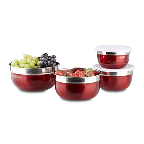 Relaxdays 10020833 Bol mélangeur avec couvercle lot de 4 saladiers en inox plusieurs tailles HxlxP: 9 x 18,4 x 18,4 cm, rouge