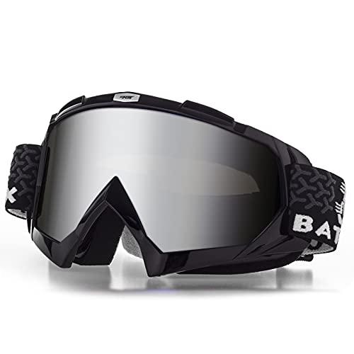 BATFOX Motorradbrille Dirt Bike ATV Motocross Sicherheit ATV Tactical Riding Motorradbrille Brille für Männer Frauen Jugend Fit Über Brille UV400 Schutz Bruchsicher (Schwarz-Silber)