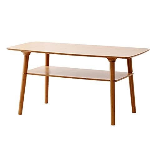 YBINGA Mesas de café de bambú doble mesa de café moderna mesa de salón larga mesa auxiliar mesa de té, fácil de montar, color de madera original, 39,4 x 19,7 x 19,7 x 19,7 cm