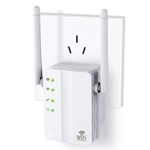 Romossy WiFi Range Extender, 300mbps Schnell WiFi WLAN Repeater Mit Hohem Hewinn Doppelten Externen Antennen Und 360 Grad WLAN Abdeckung White