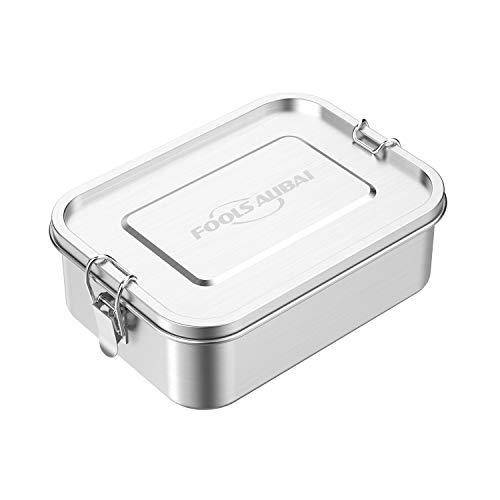 edelstahl brotdose Metall-Lunchbehälter mit 3 Fächern Edelstahl brotdose 1200ml für Kinder oder Erwachsene, sicher ohne Kunststoff & BPA Lunchbox Edelstahl Auslaufsicher (1.2L)