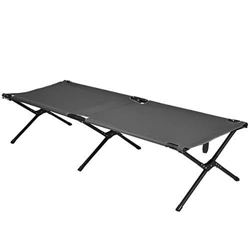 Goplus Folding Camping Cot with Carrying Bag, Portable Lightweight Outdoor Sleeping Bed for Adults Kids, 300LBS Weight Capacity, Heavy-Duty Camping Bed for Traveling (Gray)