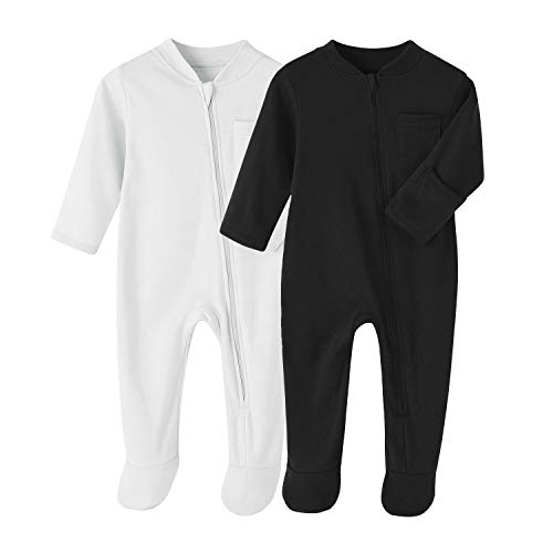 Baby Boys Sleep and Play Black+White 6 Months Baby Cotton Sleeper Zip Front Footed Pajamas Black+White 3-6 Months 2PCS