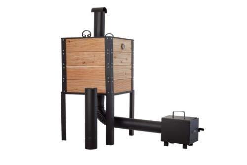 QLS Räucherofen mit Kamin aus Holz Metalldach Feuerkammer Räucherkammer 50 x 50 x 60