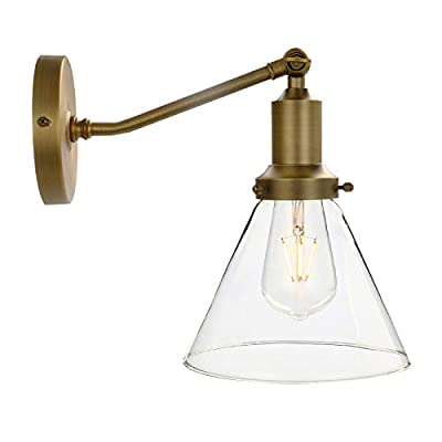 Permo Industrial Vintage Slope Pole Wall Mount Single Sconce with Funnel Flared Clear Glass Shade Wall Sconce Light Lamp Fixture (Antique)
