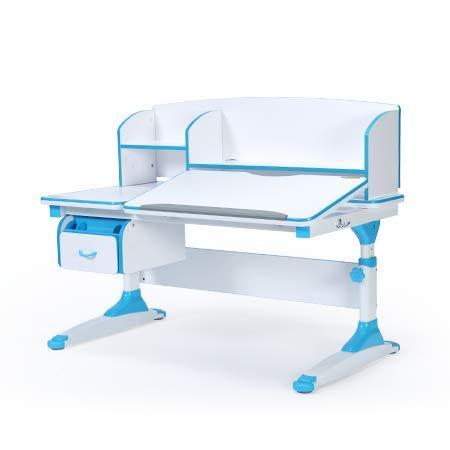 Ergodesk Torino Schreibtisch reguliert mit Aufsatz Höhenverstellbarer Schreibtisch (blau)