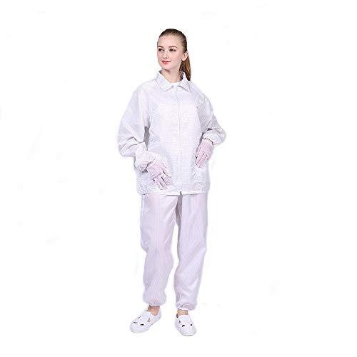 Long Sleeve ESD Safe Anti-Static Short Lab Coat Jacket Plaid Design Non-Stretch Unisex Uniform Comfort Fit (3XL, White)