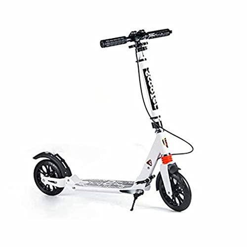 SJZD Scooter Plegable Freestyle Scooter para Adultos Freno de Disco Kicker Ruedas Grandes Pueden ser Regalo de cumpleaños para Adultos/Adolescentes/niños, rodamiento 150 kg (Blanco)