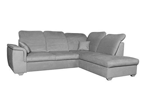 Ecksofa 261 x 203 grau beige anthrazit blau Blue Sofa mit Schlaffunktion L Form Couch Big Sofa XXL modern Wellenfedern Sofa für 4 Sitzer und mehr verstellbare Kopfteile (rechtsseitig, Grau)