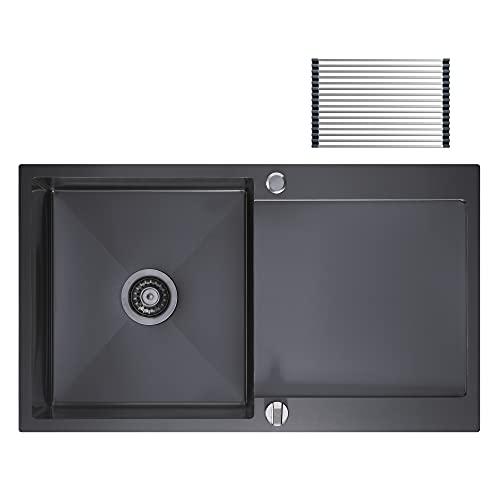 CECIPA Fregadero de cocina con escurridor 78*50 acero inoxidable escurridor fregadero egadero de cocina negro (sin grifo, Negro)