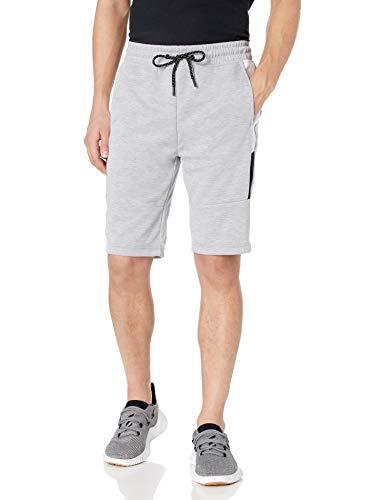 Southpole Men's Tech Fleece Shorts, Heather Grey Side Color Block, Small