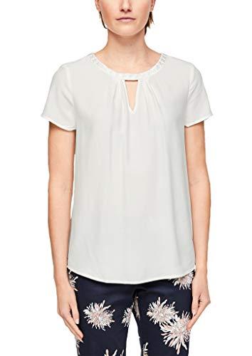s.Oliver BLACK LABEL Damen Blusenshirt mit Spitzenblende White 46