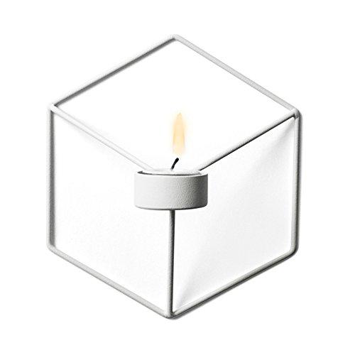 Proglam Wand-Kerzenhalter im nordischen Stil, 3D-Geometrischer Eisen-Metall-Wandleuchter, Kerzenständer, Bar-Dekoration weiß