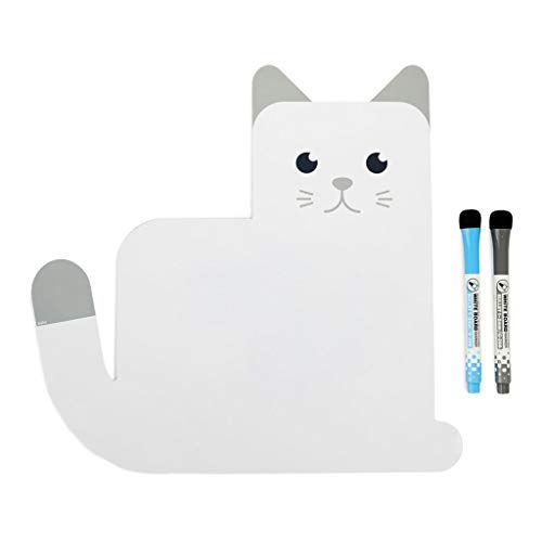 Balvi Lavagna frigo Magnetica Meow! Colore Bianco Originale Lavagna per pianificare, Ideale per i promemoria, Lista della Spesa, attività e Note Importanti in casa Plastica PP 31,5x33x0,6 cm