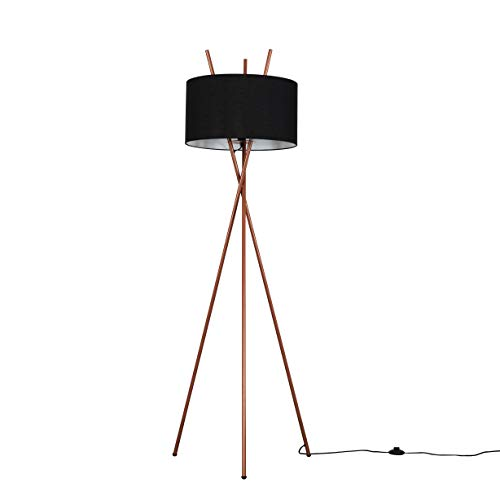 Modern Copper Metal Crossover Design Tripod Floor Lamp with a Black Cylinder Shade
