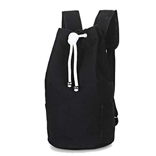 REGJ Men Gym Bag Drawstring Backpack Bucket Sports Basketball Bolsas para Las Mujeres Fitness Canvas Rucksuck (Color : Black M)