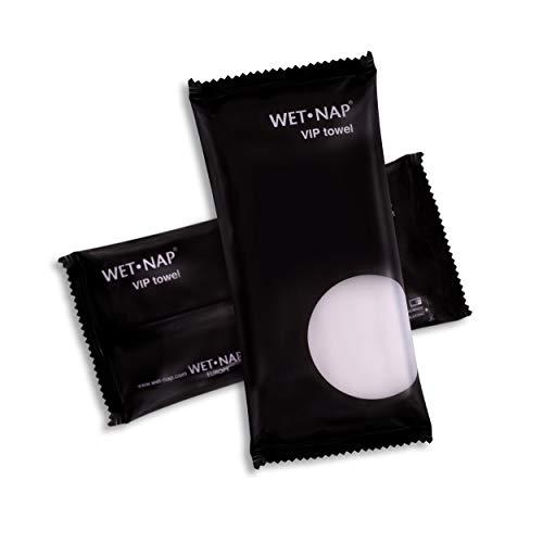 Wet-Nap VIP Erfrischungstücher für Hände und Gesicht, edle Frottee Tücher aus Baumwolle mit Grüntee-Extrakt, wiederverwendbar, 25 Stück