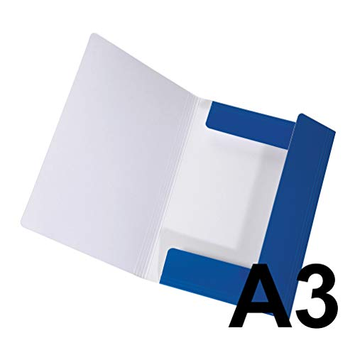 Original Falken Sammelmappe LongLife. Aus extra starkem Karton mit 3 Klappen und Gummiband für DIN A3 blau Aufbewahrung-Mappe Zeichenmappe ideal für Büro und Schule