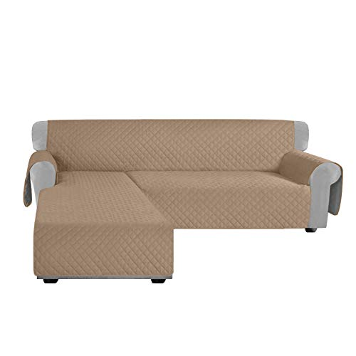 Granbest Sectional Couch Covers 5 Piece L Shaped Sofa Cover Non-Slip Reversible Sofa Slipcover for Dogs Pets Furniture Protector with Armrest Backrest Cover (Small, Camel)