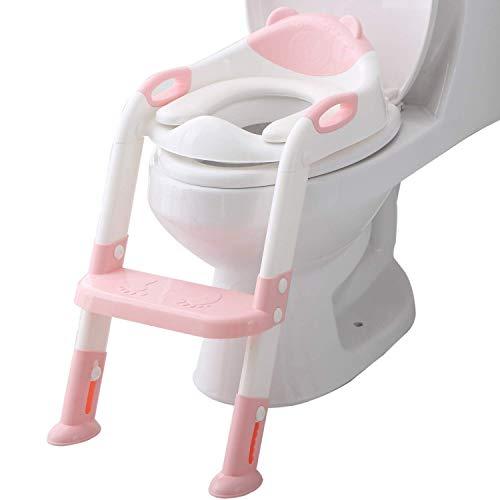 XHCP - Escalera para asiento de entrenamiento para niños y niñas, cómoda y segura, ajustable, con almohadillas antideslizantes, color rosa