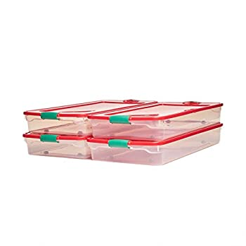 HOMZ 60 Quart Underbed Wheels Lid Latches Set of 4 Plastic Holiday Storage Container Red Green and Clear 4 Pack