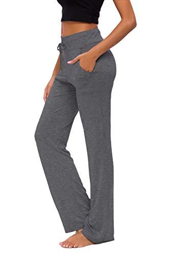Pantalones De Yoga para Mujer con Bolsillos Cordón De Pierna Ancha Salón Recto Suelto Pantalones De Entrenamiento De Entrenamiento Pantalones De Chándal Casuales Activos (EMP Ash, L)