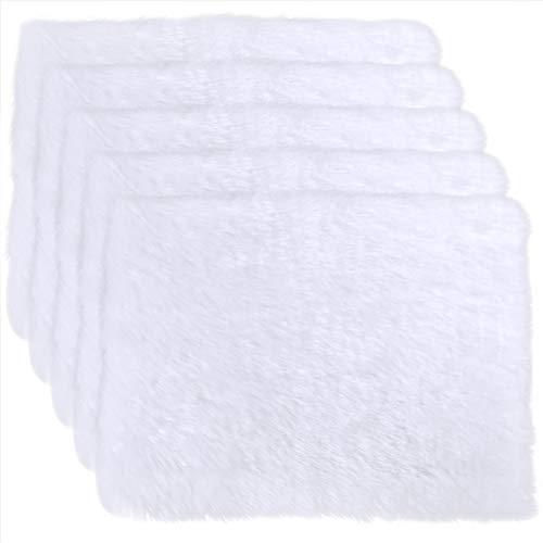 5 piezas de decoración blanca de piel sintética para manualidades, 30,5 x 22,8 cm para Navidad, Halloween, invierno, disfraz de Santa Barba, muñecas en miniatura