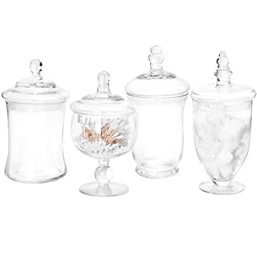 MyGift Set of 4 Small Clear Glass Apothecary Jars/Candy Buffet Containers with Lids