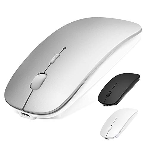 Bluetooth Mouse for Laptop/iPad Pro Air(iPad OS 13 and Above)/MacBook Pro Air, Rechargeable Wireless Mouse with Slim Silent Click & 3 Adjustable DPI Levels for PC, Silver