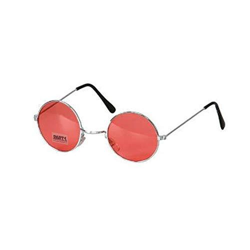 PARTY DISCOUNT ® Brille Hippie, runde, rote Gläser aus Metall