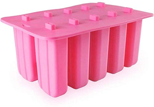 Baifeng 10 Cell Silicone Gel Ice Cream Mould, Popsicle Mold, Ice Cream Tray, Puck Ice Cream Mold Popsicle Maker Frozen Tray Ice