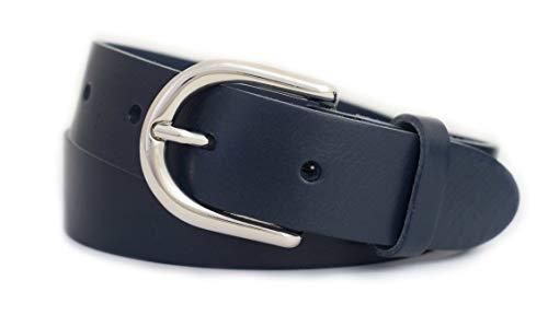 GREEN YARD Ledergürtel schmal Gürtel aus 100% weichem Leder für Damen & Herren Damengürtel 3cm breit,Blue - Blau,115 cm Bundweite = 130 cm Gesamtlänge