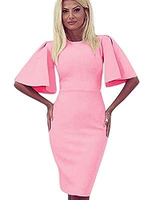 Zshujun Women's Retro Bodycon Knee-Length Formal Office Dresses Pencil Dress 1189 (Pink, L)