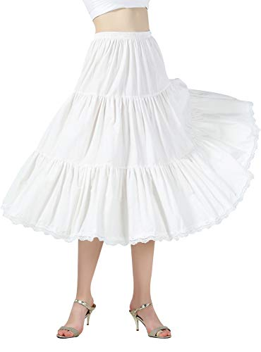 BEAUTELICATE Jupon sous-Jupe 100% Coton Année 50 Jupe Évasée Dentelle A-Ligne Jupe Ivoire Court Mi-Longue pour Femme Fille(L, Ivoire - 55cm Longueur)