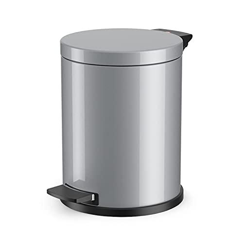 Hailo Solid M Mülleimer , 1 x 12 Liter , Treteimer mit verzinktem Inneneimer , selbstlöschend , Tragegriff , Stahlblech , Anti-Rutsch-Füße , Mülleimer Küche rund , Made in Germany , silber