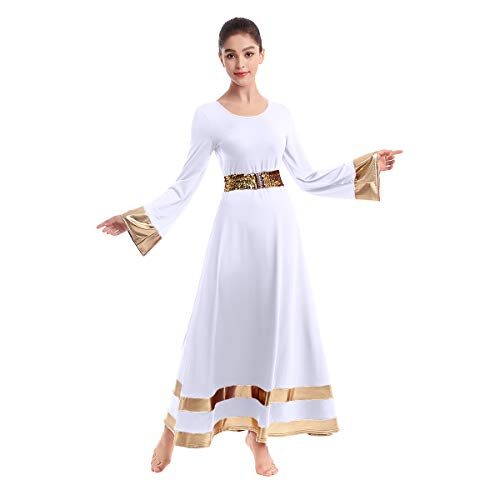 Women Adult Shiny Metallic Praise Dance Dress with Sequins Waistband Bell Long Sleeve Liturgical Church Robe Loose Fit Full Length Swing Gown Tunic Circle Skirt Christian Worship Costume White S