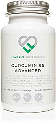 LLS Curcumin 95 Advanced (Formerly Curcumin C3 Advanced) | High Strength Curcumin (the Active Component of Turmeric) containing ONLY ACTIVE CURCUMIN with 95% Curcuminoids + BioPerine®, Vitamin D3, Tomato and Ginger Root | 60 Capsules | Produced in the UK