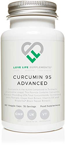 LLS Curcumin 95 Advanced (precedentemente noto come Curcumina C3 Advanced) Curcumina ad alta resistenza (la componente attiva della curcuma) contenente SOLO CURCUMIN ATTIVO con Curcuminoidi al 95% + BioPerine®, Vitamina D3, Radice di pomodoro e zenzero | 60 capsule | Prodotto nel Regno Unito con licenza GMP