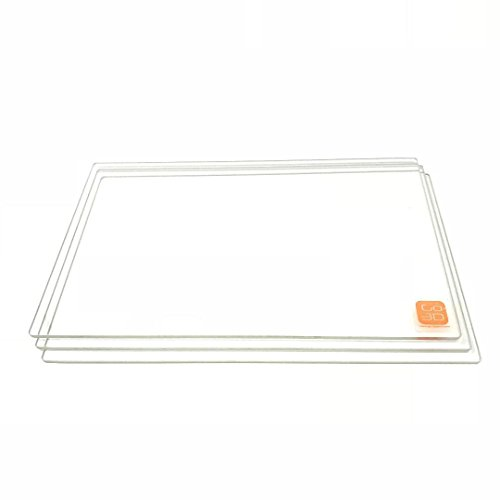 GO-3D PRINT 150mm x 230mm Borosilicate Glass Plate/Bed w/Flat Polished Edge for Flashforge Creator & Makerbot Replicator 3D Printer - 3 Pack