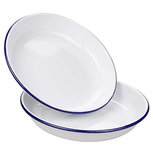 Webake 9.5 Inch Enamel Plates, White Body with Blue Rim