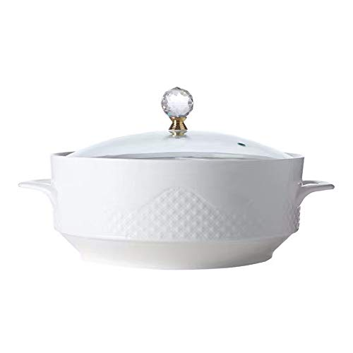 LSHOME Grand Porcelaine Soupe Bol avec Couvercle Maison Binaural Soupe Bol Premium Nordique Style Céramique Créative Vaisselle Blanc,20cm