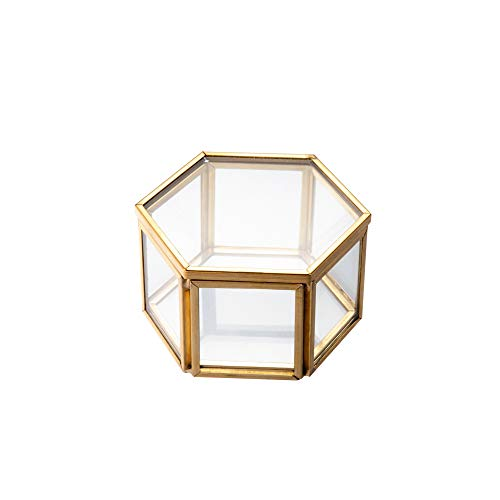 Feyarl Gold Jewelry Trinket Tiny Glass Box Ornate Ring Earring Box Preserved Flower Glass Box Decorative Box Wedding Birthday Gift
