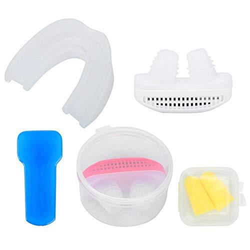 Antisnurkapparaat - Snurkoplossing Stop met snurken Nachtrusthulpset met oordop + tandenbakje voor mannen en vrouwen(wit)