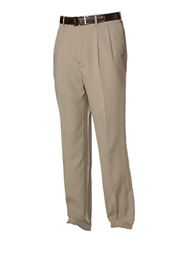 Savane Men's Comfort Waist Microfiber Performance Dress Pants (32W X 32L, Khaki)