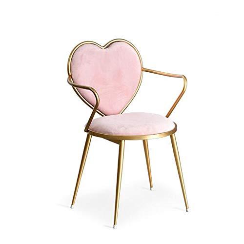 WGXX 2-pack eetstoel, hartvormige eettafel en stoel met armleuningen, multifunctionele make-upstoel, smeedijzeren huishoudelijke vrijetijdsstoel met kussen, speciale stoel voor prinseskamer