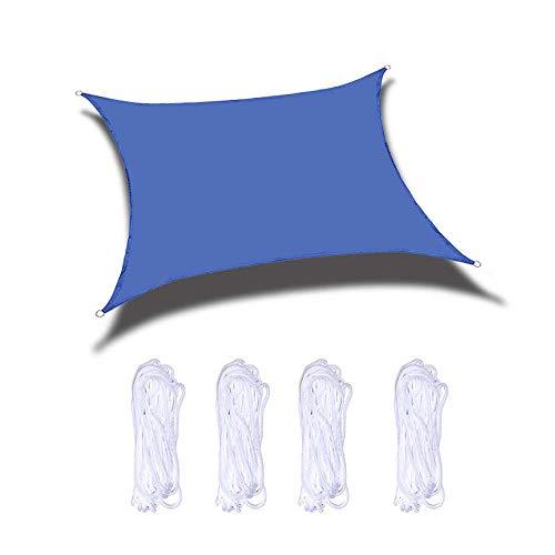 AWYYSYS Toldo rectangular con bloqueo de rayos UV 95% resistente al agua, toldo para patio al aire libre jardín con 4 cuerdas gratis, azul, 3.6×3.6m/11.8×11.8ft
