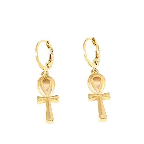 nobranded Clásico Ankh Cruz Pendientes Oro Color Oro Cruz joyería egipcia Mujeres Egipto jeroglíficos joyería